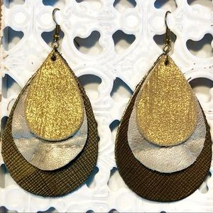 Leather Teardrop Layered Earrings